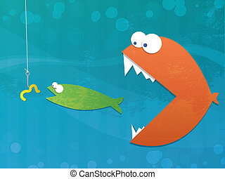 Fish Food Chain - Underwater illustration of fish eating...