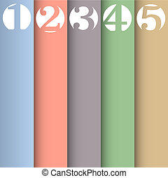 Vertical paper numbered banners in pastel colors