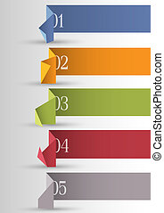 Origami paper numbered banners .Vector design template