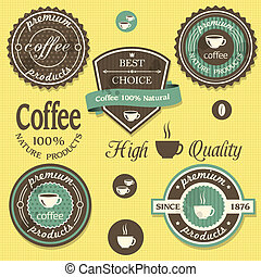 Vector coffee labels in  vintage style