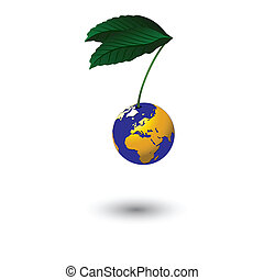 planet is hanging on a branch with green leaves on white background. Vector