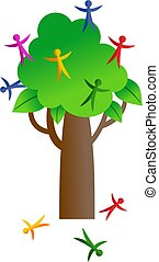 people tree - bushy tree with colourful people growing on it