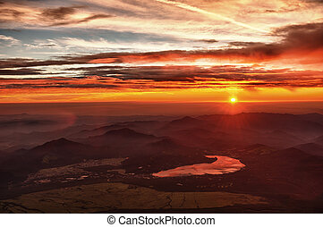 Sunrise from Fuji - Beautiful vivid sunrise seen from the...