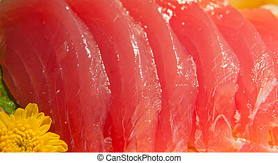 Tuna sashimi - Raw tuna sashimi with a shallow DOF