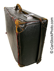 Old brown suitcase-009 - Old brown suitcase on a light...