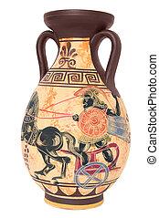 Greek vase - ancient greek vase isolated on white background