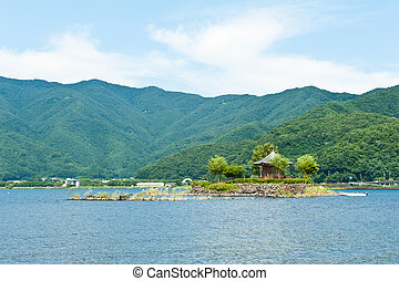 Gazebo in the lake - Small gazebo on an island, lake...