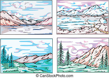 Sketches of mountain landscapes Set of vector illustrations...