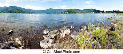 Kawaguchiko - Lake Kawaguchiko and mountains around it,...