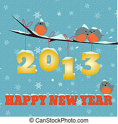 Birdies Happy new year 2013 - Little birdies on branch and...