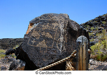 Albuquerque Pueblo Indian Petroglyph - Large basalt rock has...