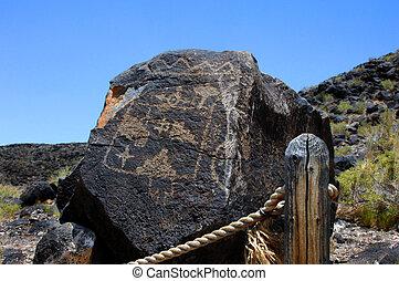 Albuquerque Pueblo Indian Petroglyph - Large basalt rock has...