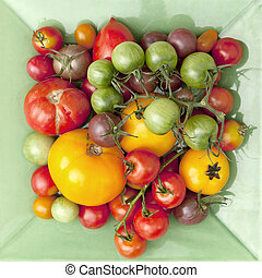 Tomatoes - variety of tomatoes on green plate