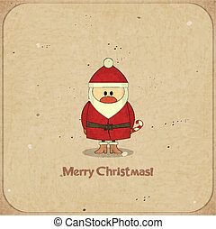 Merry Christmas Retro card with Santa Claus - Santa Claus on...