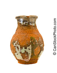 isolated aged and cracked ancient ceramics pitcher