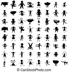 Set of hand drawn children silhouettes