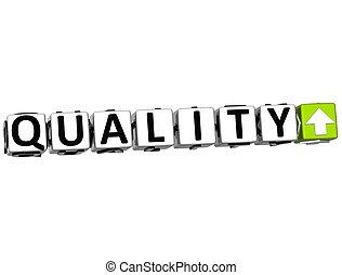 3D Quality Button Click Here Block Text