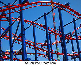 Roller Coaster Background - Close up into the tracks of a...