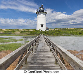 New England lighthouse off the shores of the Atlantic
