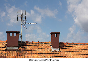 Antennas  to receive TV signals on the roof