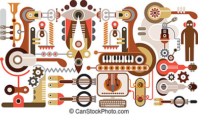 Musical instrument factory - abstract vector illustration....