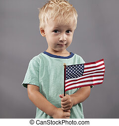 Cute Boy Holding Flag