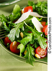 Salad - Arugula tomato salad with pine nuts and parmesan...