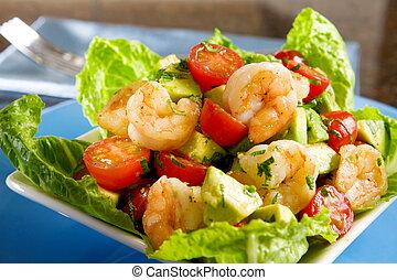 abacate, camarão, salada