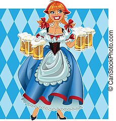 Oktoberfest girl on background