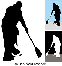Man Sweeping Floors - An image of a man sweeping floors