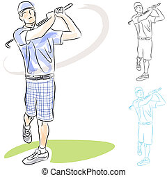 Golf Player Swings - An image of a golf player swinging his...