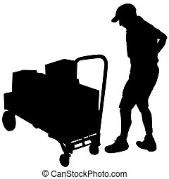 Delivery Man and Flatbed Cart with Boxes - An image of a...
