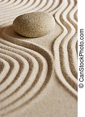 Zen Stone - Stone on raked sand; mini rock garden; Zen...