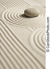 Mini Rock Garden - Stone on raked sand; Zene concept; Mini...
