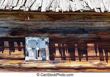 wooden windows of old rural house