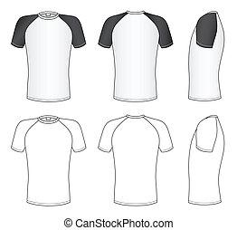 Raglan sleeve t-shirt - Outline black-white t-shirt vector...