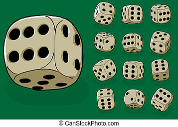 Set of old dices on green - vector illustration - Set of old...