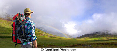 Hiker being overwhelmed and in awe of the Icelandic...