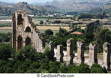 Old water aqueduct device near theater Aspendos in Antalya,...