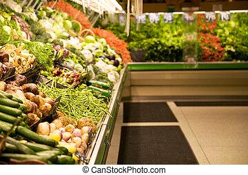 食品雜貨店, 商店, 或者, 超級市場