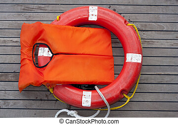 Orange life jacket. Old rescue vintage lifevest object for...