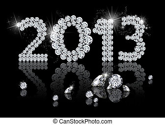 Brilliant New Year 2013 is a diamond jewelry illustration on...