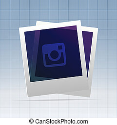 Two instant blanks of polaroid over blueprint - Two instant...