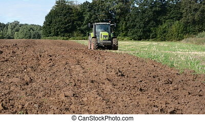 tractor plowed autumn field - tractor plowed autumn farm...