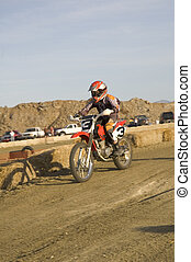 Dirt bike racer in race