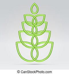verde, vegetación, símbolo