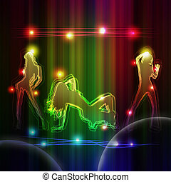 Dancing Girls - A colourful dancing party design: 3 girls...
