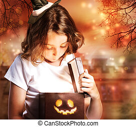 Halloween Cute Little Witch with Box