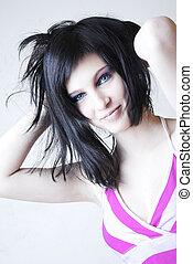 smiling teen girl with luxury makeup
