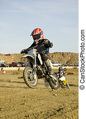 Dirt bike racer in the lead
